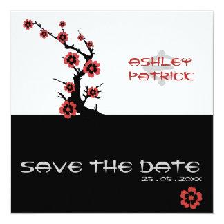 Yin-Yang Oriental Sakura Wedding 13 Cm X 13 Cm Square Invitation Card