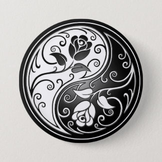 Yin Yang Roses, black 7.5 Cm Round Badge