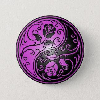 Yin Yang Roses, purple and black 6 Cm Round Badge