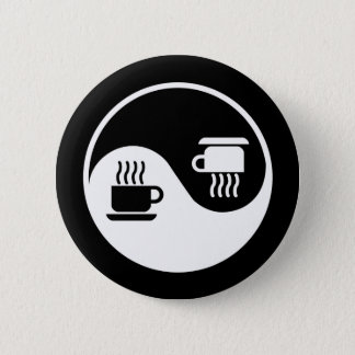 Ying and Yang of Coffee 6 Cm Round Badge