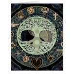 ying yang with religious symbols greeting card