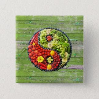 YinYang - Vegan harmony Green Wood Wall 15 Cm Square Badge