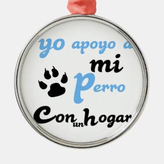 Yo apoyo a mi Perro Silver-Colored Round Decoration