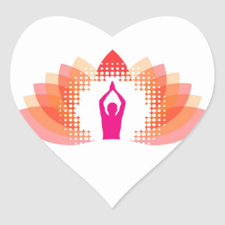 Yoga and meditation graphic heart stickers
