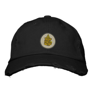 Yoga Ganesh Embroidered Dark Cap