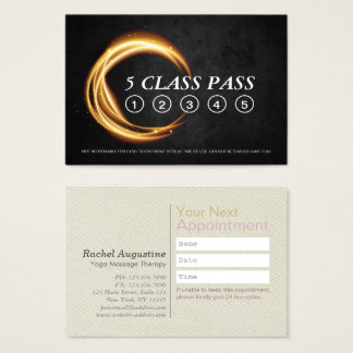 YOGA & Massage Class Pass Appointment Black & Gold Business Card
