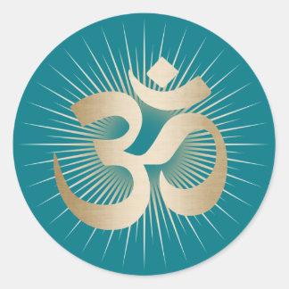 Yoga & Meditation Gold Rays Om Mantra Elegant Classic Round Sticker