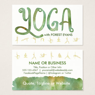 YOGA Poses Forest Green Watercolor Business Cards