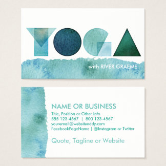 YOGA Watercolor Blue Green Business Cards