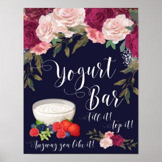 yogurt bar sign wedding navy pink floral