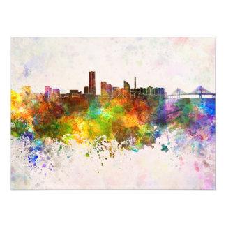 Yokohama skyline in watercolor background photograph