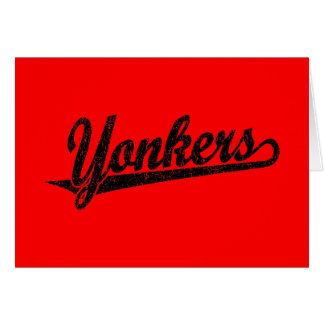 Yonkers script logo in black distressed card