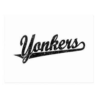 Yonkers script logo in black distressed postcard