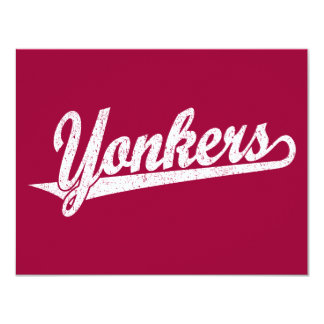 Yonkers script logo in white distressed card