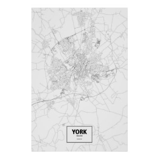 York, England (black on white) Poster