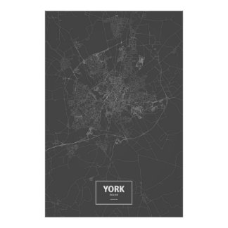 York, England (white on black) Poster
