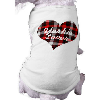 Yorkie Lover Dog  T shirt with plaid design Sleeveless Dog Shirt