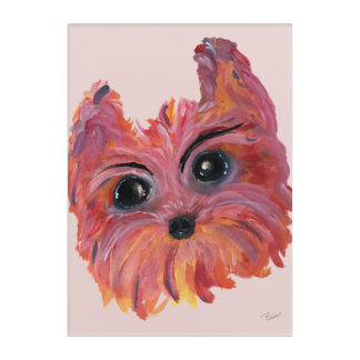 Yorkie Pop Art Painting in Pink and Orange