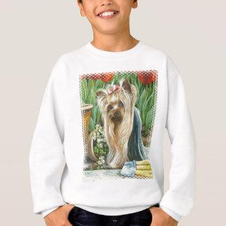 Yorkie Yorkshire Terrier Garden Tulips Sweatshirt
