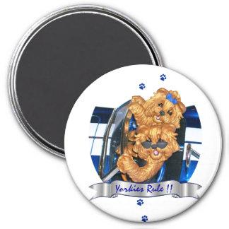 Yorkies Rule!! Yorkshire Terrier Art Round Magnet