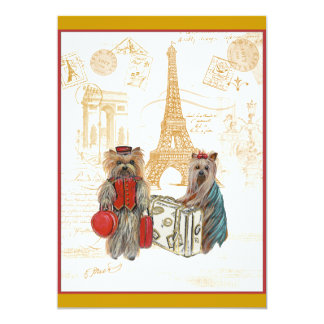 Yorkies Travel Eiffel Tower Paris Invite