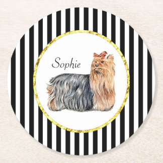 Yorkshire Terrier Black Stripes Personalize Round Paper Coaster