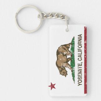 Yosemite California Republic Distressed Double-Sided Rectangular Acrylic Key Ring