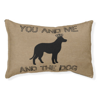 You and me and the dog funny saying faux burlap pet bed