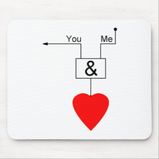 You And Me Love Nerd Edition Digital Logic Mouse Pad