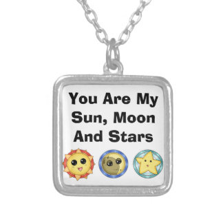 You Are My Sun, Moon, & Stars Silver Plated Necklace