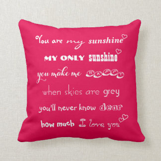 You Are My Sunshine Valentines Day Wedding Pillow