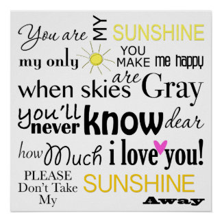 You are my Sunshine Word Art Print