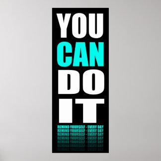 You CAN Do It (aqua) Motivational Poster
