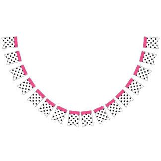 You choose background black polka dots & pink band bunting