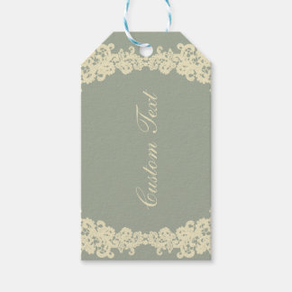 You choose background color & beige lace gift tag