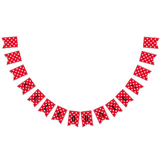 You choose background color & white polka dots bunting