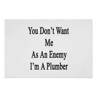 You Don't Want Me As An Enemy I'm A Plumber Poster