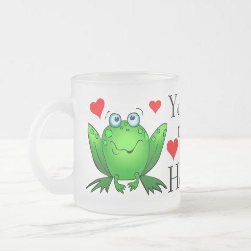 You Make Me So Hoppy Cute Cartoon Frogs Mug
