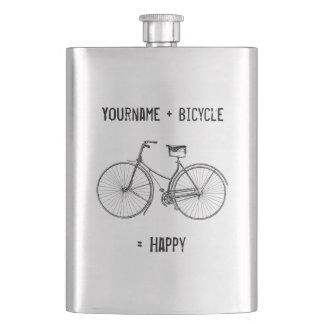 You Plus Bicycle Equals Happy Antique Wheels Bike Flasks