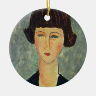 Young Brunette, 1917 (oil on canvas) Round Ceramic Decoration