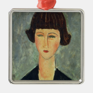 Young Brunette, 1917 (oil on canvas) Silver-Colored Square Decoration