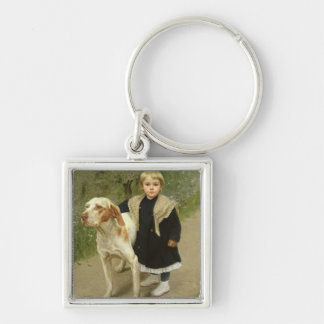 Young Child and a Big Dog (oil on canvas) Key Ring