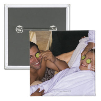 Young couple enjoying a spa treatment. 15 cm square badge