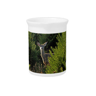 Young Deer in Pine Trees Pitcher