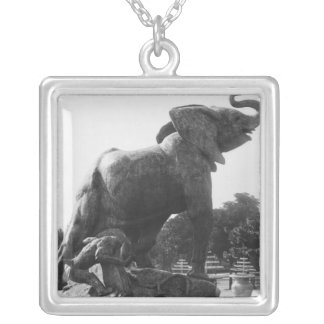 Young Elephant caught in a trap Silver Plated Necklace