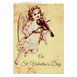 Young girl Angel playing a Violin Card