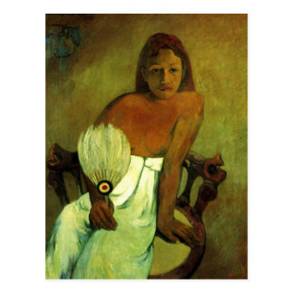 Young girl with fan - Paul Gauguin Postcards