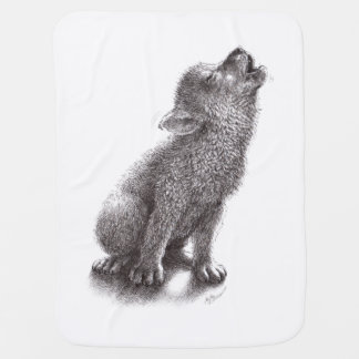 Young Howling Wolf Receiving Blanket
