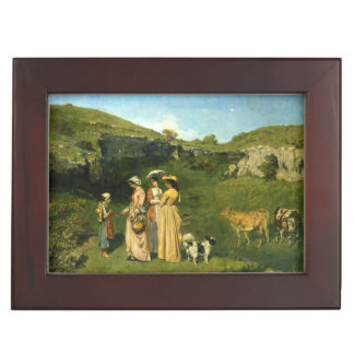 Young Ladies of the Village by Gustave Courbet Keepsake Box
