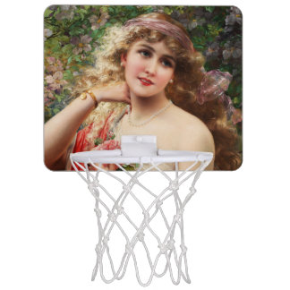 Young Lady With Roses by Emile Vernon Mini Basketball Hoop